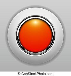 オレンジ, ボタン, 3d