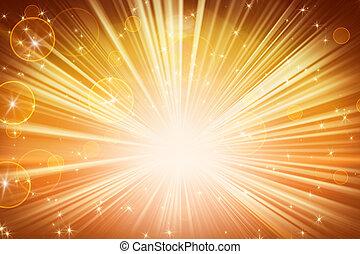 オレンジ, ライト, 星, 照ること