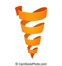 オレンジ, リボン, 矢, レトロ, 形態