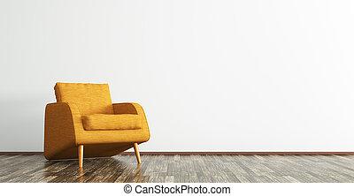 オレンジ, レンダリング, 内部, 3d, 肘掛け椅子