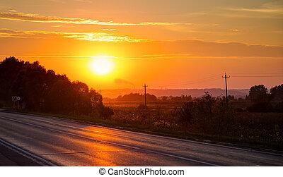オレンジ, 上に, 日没, アスファルト坑道