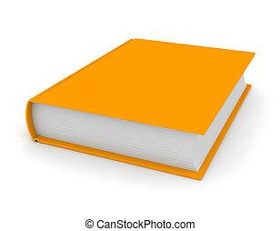 オレンジ, 上に, 本, 白い背景