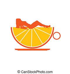 オレンジ, 女の子, イラスト, カップ