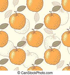 オレンジ, 定型, seamless, パターン