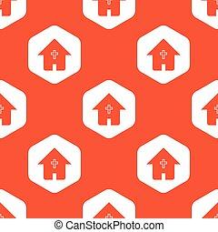 オレンジ, 家, 六角形, キリスト教徒, パターン