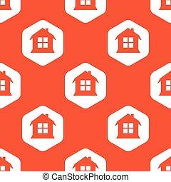 オレンジ, 家, 六角形, パターン