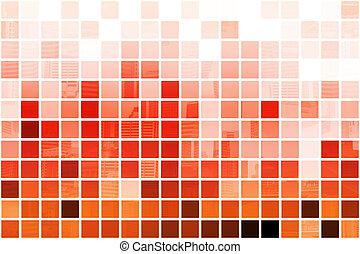 オレンジ, 専門家, 抽象的, 背景, 立方