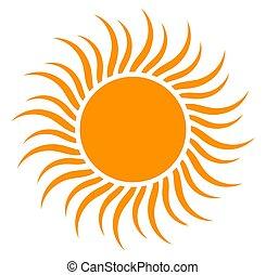オレンジ, 平ら, シンボル, 太陽