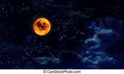 オレンジ, 広く, カボチャ, 月