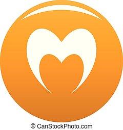 オレンジ, 心, 予言的である, ベクトル, アイコン