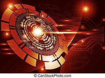 オレンジ, 技術, 背景, 抽象的, デジタル, 技術, 円