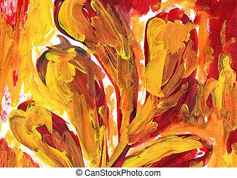 オレンジ, 抽象的な絵, 手ざわり