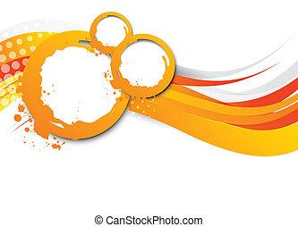 オレンジ, 抽象的, 波状, 背景