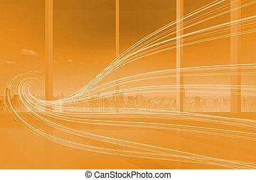 オレンジ, 抽象的, 波, デザイン
