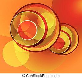 オレンジ, 抽象的, 赤い背景
