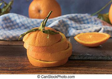 オレンジ, 新たに, 切口, に薄く切る