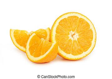 オレンジ, 新たに, 白, フルーツ, 隔離された