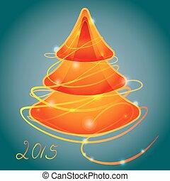 オレンジ, 明るい, 木, クリスマス