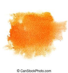 オレンジ, 水彩画, ストローク, ブラシ