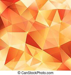 オレンジ, 水晶, 抽象的, ベクトル, パターン