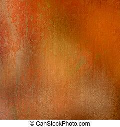 オレンジ, 汚された, グランジ, 背景