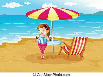 オレンジ, 浜, 女の子, ジュース