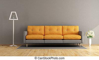 オレンジ, 灰色, 部屋, 暮らし