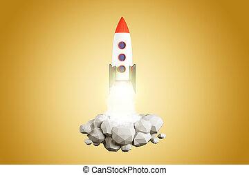 オレンジ, 発射, ロケット, 背景