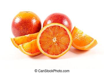 オレンジ, 白, 隔離された, 赤