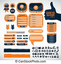 オレンジ, 網, デザインを設定しなさい, 要素