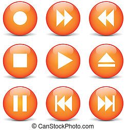 オレンジ, 網, ベクトル, マルチメディア, ボタン