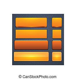 オレンジ, 網, buttons., 現代, high-detailed