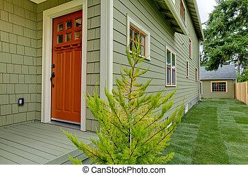 オレンジ, 緑, 玄関, 家