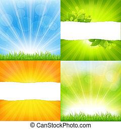 オレンジ, 背景, sunburst, 緑