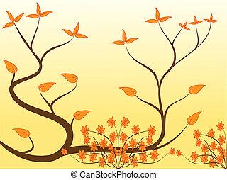 オレンジ, 花, 抽象的なデザイン