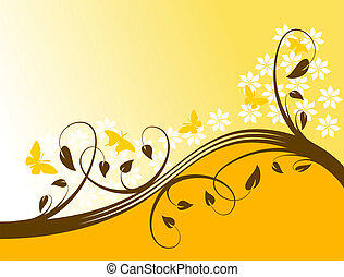 オレンジ, 花, 抽象的, ベクトル, 背景