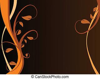 オレンジ, 花, 抽象的, 背景