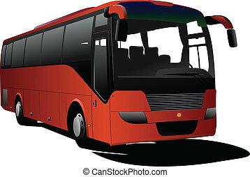 オレンジ, 観光客, bus., ベクトル, coach.