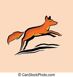オレンジ, 跳躍, キツネ