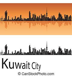 オレンジ, 都市 スカイライン, 背景, クウェート