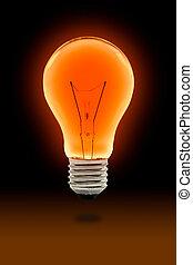 オレンジ, 電球, ライト