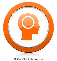 オレンジ, 頭, アイコン, 人間, 印