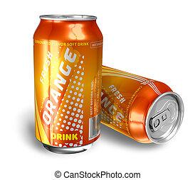 オレンジ, 飲み物, 金属, 缶, ソーダ
