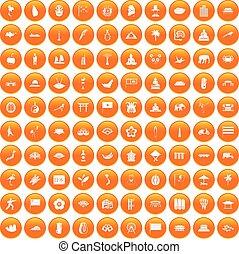 オレンジ, 100, セット, アジア人, アイコン
