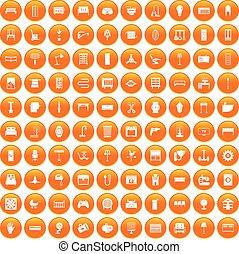 オレンジ, 100, セット, 供給, アイコン