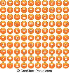オレンジ, 100, セット, 星, アイコン