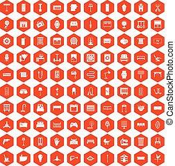 オレンジ, 100, 六角形, 供給, アイコン