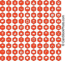 オレンジ, 100, 六角形, 星, アイコン