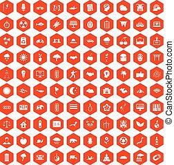 オレンジ, 100, 六角形, 調和, アイコン