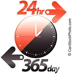 オレンジ, 24hr, 365, 黒い矢印, 日